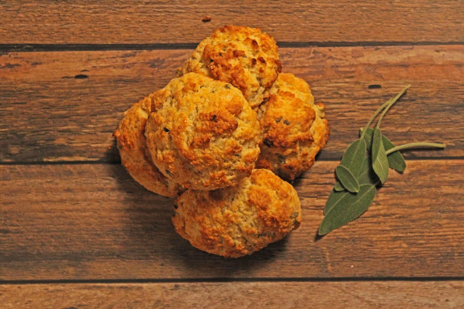 Cornmeal Sage Biscuits Overhead